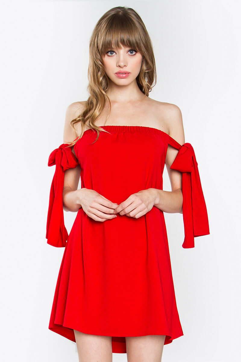 LYDIA OFF THE SHOULDER RED DRESS Small Medium Sizes