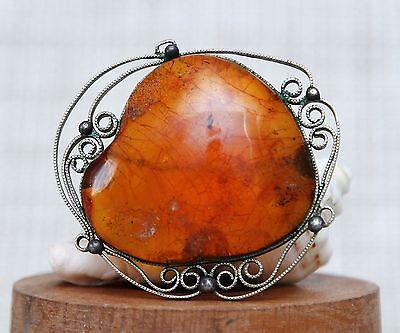 Beautiful Antique Natural Baltic Amber Brooch 17g.
