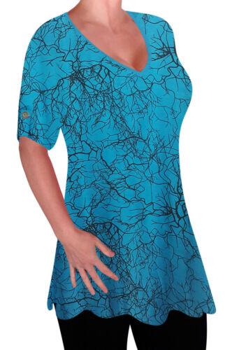 Ladies Print V-Ausschnitt Bluse Tunika Womens Swing Flared T-Shirt Top