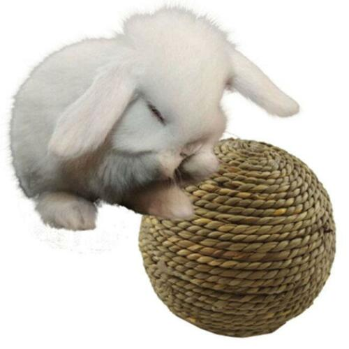 Pet Hamster Rabbit Straw Play Ball Small Pet Rodents Chew Toy Grass Ball FM
