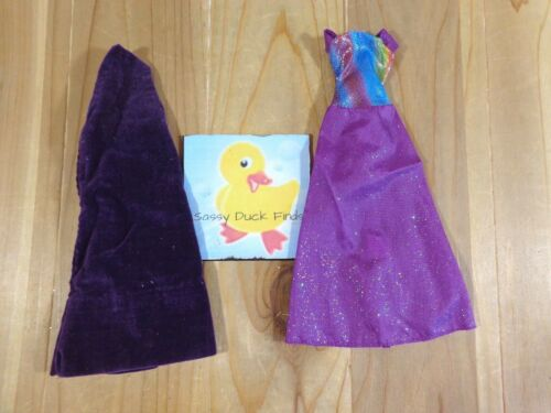 Barbie Doll Clothing Lot 2 GOWNS DRESSES Purple One Strap Metallic Rainbow