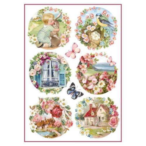 NEUF Stamperia papier de riz A4-Floral paysages DFSA 4293
