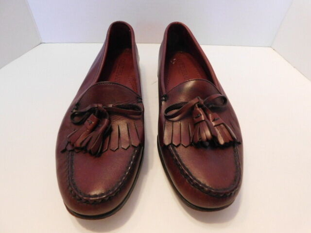 COLE HAAN MENS REDDISH BROWN LEATHER M TASSEL LOAFERS SIZE 10 M LEATHER b31b1e