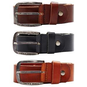 Jack-amp-Jones-Men-039-s-Branded-Classic-100-Buffalo-Leather-Belt-BNWT