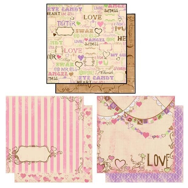 "Bo Bunny SMOOCHABLE 12""x12"" Papers Scrapbooking Paper Crafts x6 Sheets"