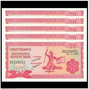 Burundi-20-Francs-2007-5pcs-Running-Number-UNC