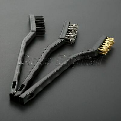 3x Stainless Steel Brass Nylon Wire Tooth Brush Set Cleaning Rust Detailing