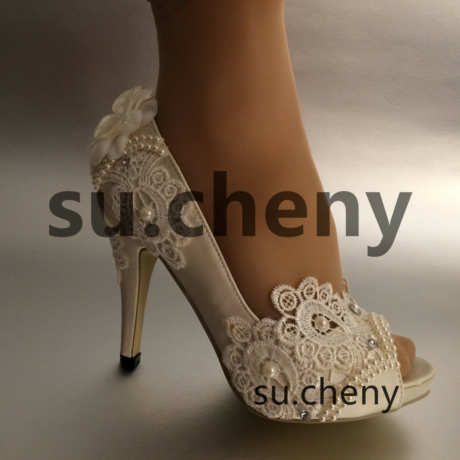 "3"" 4"" heel white ivory silk lace open toe pearls Wedding Scarpe Bride size 5-11"