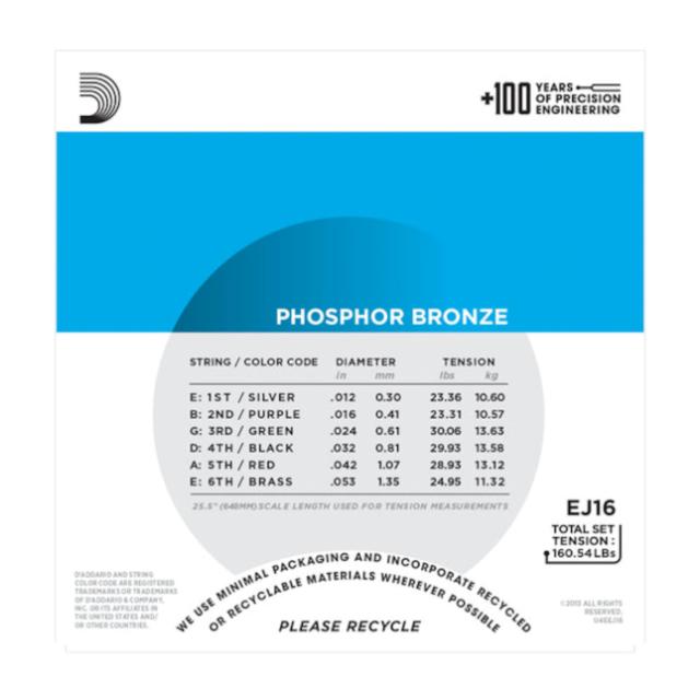 A-Git.Saiten EJ16-3D 12-53 Phosphor Bronze 3er Set D/'Addario