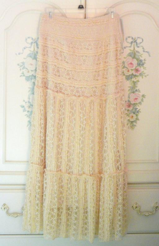 Anthropologie Lace Maxi Skirt Small NWT Lapis Fully Lined