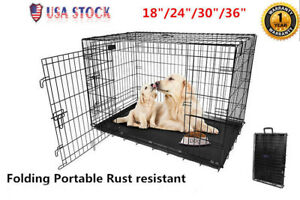 Large-Dog-Crate-Kennel-36-034-30-034-24-034-18-034-Folding-Cat-Pet-Cage-Metal-US-SHIP