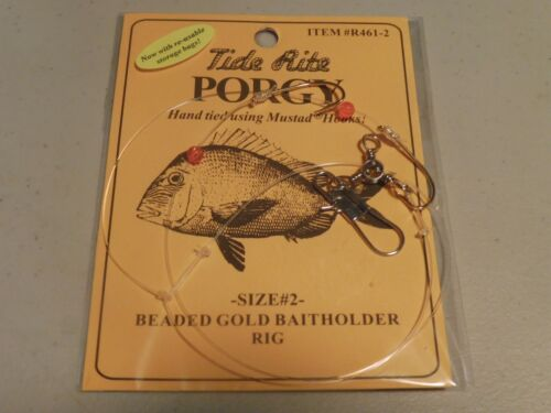 6 PORGY RIGS SCUP TIDE RITE R461-2 BEADED HI-LO RIG SALTWATER  FISHING MUSTAD