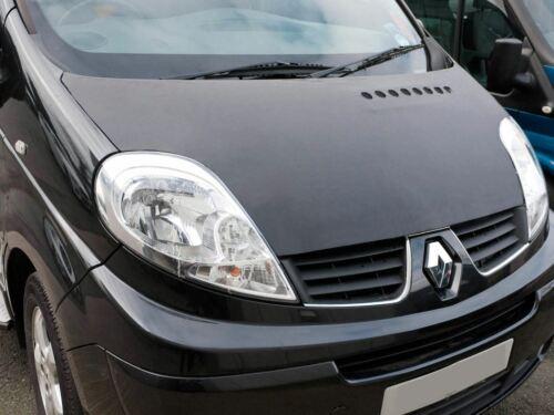 01-14 Bonnet Bra Full Black Vinyl Stone Chip Cover Protector Renault Trafic