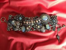 Betsey Johnson Bonjour Butterfly Blue opal Crystal Ribbon Bow Silver Bracelet