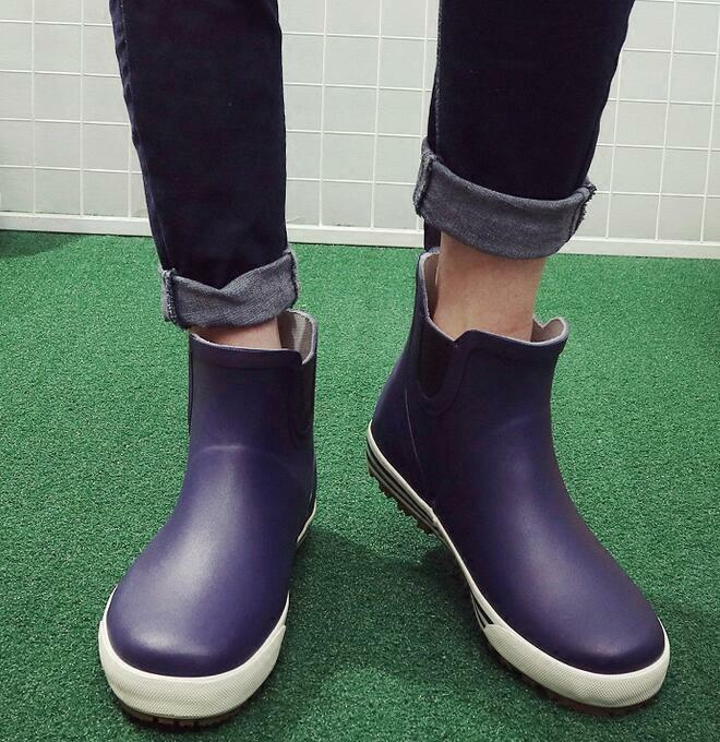 Mens Fashion Rainboots Waterproof Slip On Fishmens Low Top shoes Plus Size Hot
