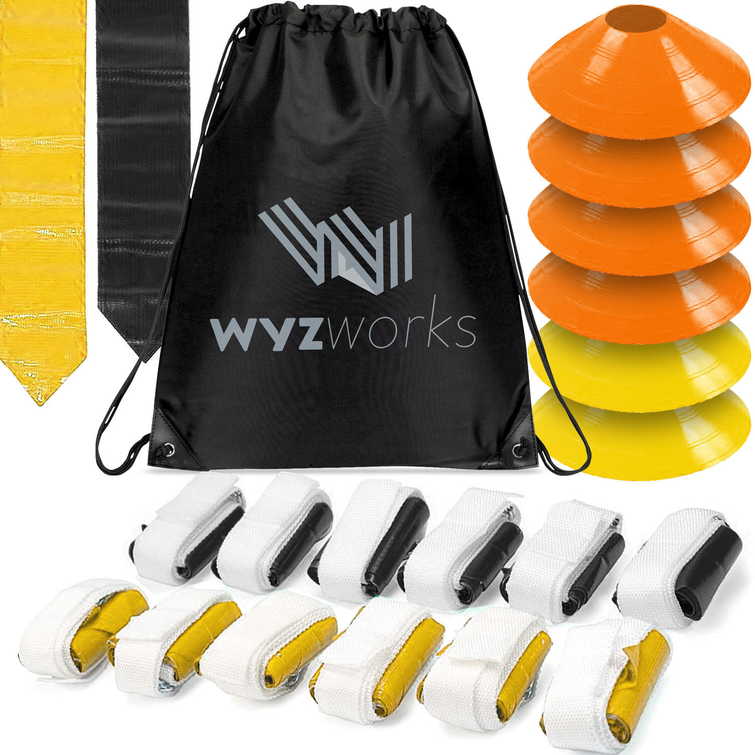 Details about Flag Football Belt Kit for 12 Players - Yellow   Black Flag +  Cones   Travel Bag c4973946e