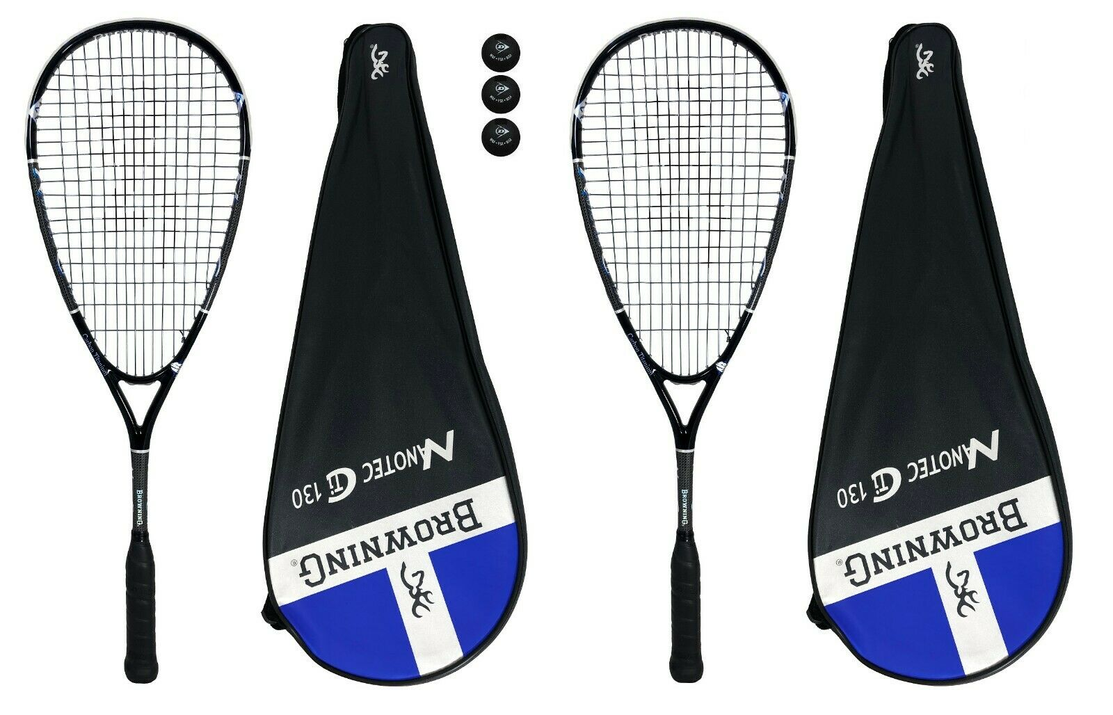 2 x brauning Nanotec Ti 130 Squash Rackets + 3 Squash Balls