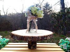 "Rustic Wood Tree Slice Wedding Cake Stand Platter Log Round Decor 10-12"""