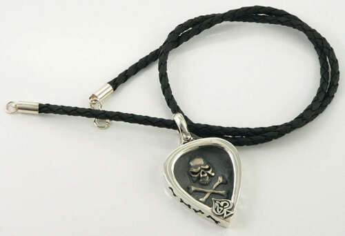 SKULL GUITAR PICK HOLDER 925 STERLING SILVER PENDANT LEATHER CORD CHAIN NECKLACE