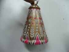 Free People Anthropologie Christmas Ornament FP Metal cow Bell boho Pink