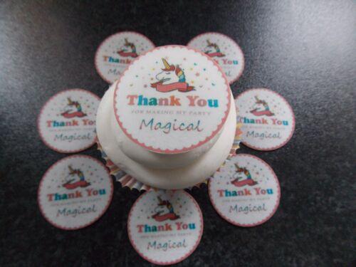 12 Precut Edible merci Licorne Disques Plaquette Papier Gâteau//Cupcake Toppers 4