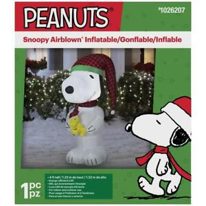 Snoopy And Woodstock Christmas Inflatable.Details About Christmas Peanuts 4 Ft Lighted Snoopy Woodstock Doghouse Airblown Inflatable