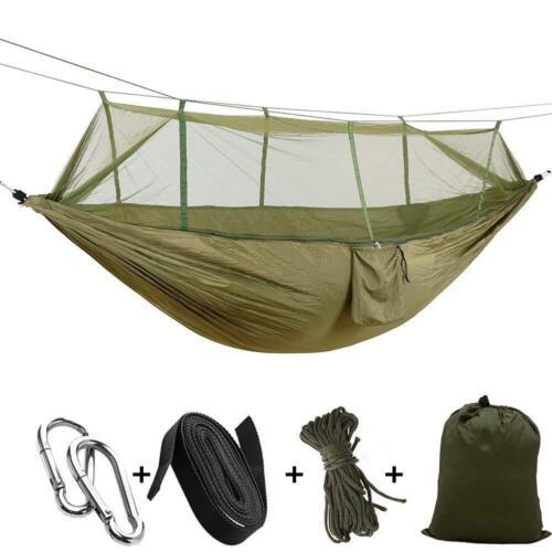 Portable Hammock Mosquito Net Parachute Nylon Fabric Hanging Swing Bed Sleep