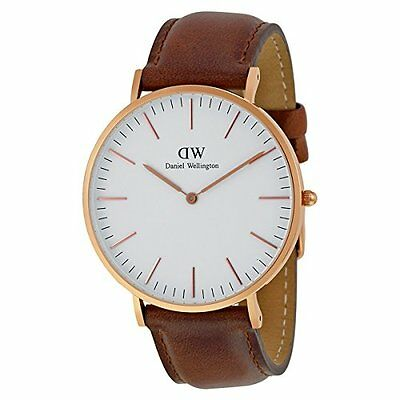 Daniel Wellington St Mawes White Dial SS Brown Leather Quartz Men's Watch 0106DW