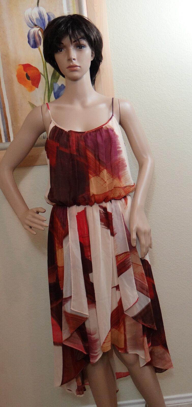 NEW W DEFECT MAGGY LONDON spaghetti strap asymmetrical hem multi dress, size 10