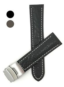 Leather-Watch-Band-Strap-Deployment-18-24mm-Black-Brown-Tan-for-Citizen-amp-More