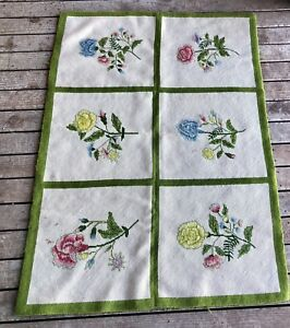 Objective Needlepoint/cross Stitch Rug Floral Shabby Cottage Chic Vintage L13/ac521 Fragrant In Flavor