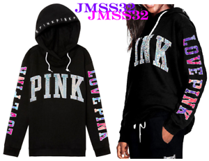 Victoria's Secret Pink Bling Campus Credver Tunic Hoodie Iridescent Ombre S