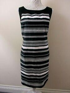 W-by-BHS-shift-dress-size-20-black-white-stripes-amp-dots-back-split-unusual-smart