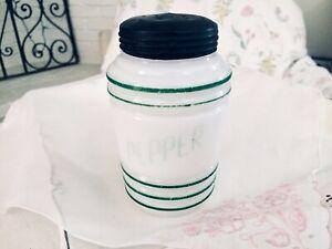 Vintage-Hazel-Atlas-Milk-Glass-w-Green-Stripes-Pepper-Shaker-Ribbed-Beehive