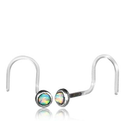 Sterling Silver 20g Nose Stud Bioplast Nose Ring Ear Faux White