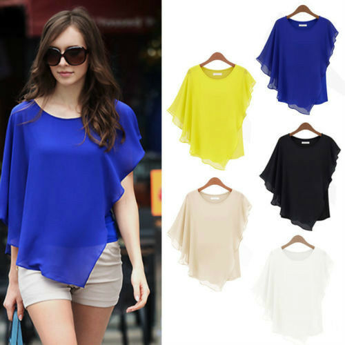 Sexy Womens Casual T-Shirt Short Sleeve Chiffon Tops Crew Neck Loose Blouse