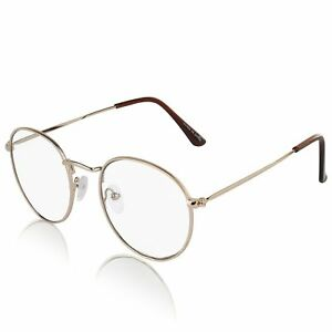 6714a9dfe Non Prescription Retro Fake Clear Lens Gold Metal Frame Eyeglasses ...