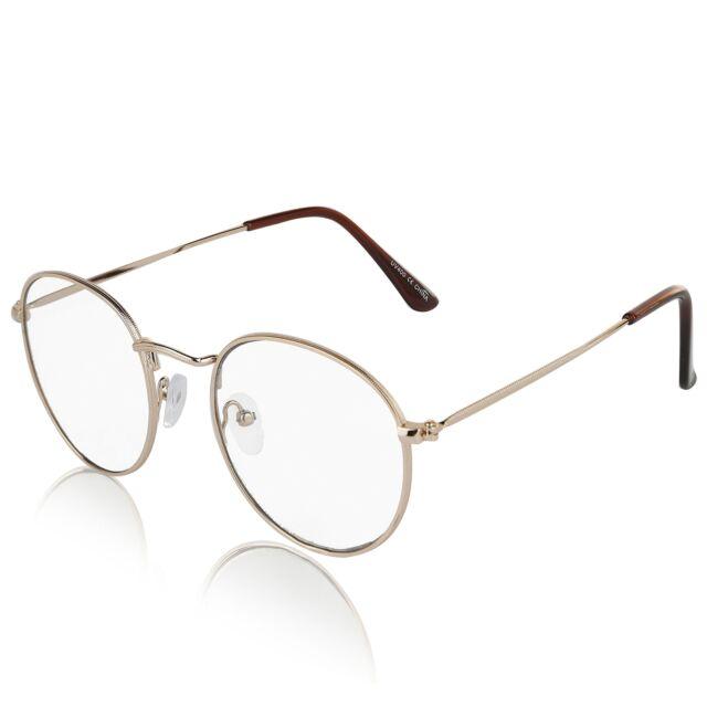 b704e1e1652 Non Prescription Retro Fake Clear Lens Gold Metal Frame Eyeglasses Woman  UV400