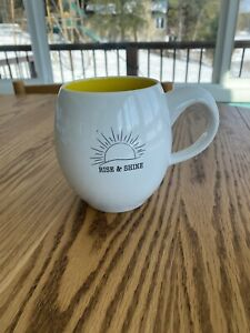 "Rise & Shine White & Yellow Ceramic Tea Coffee Mug Cup 4.5"" x 3"""