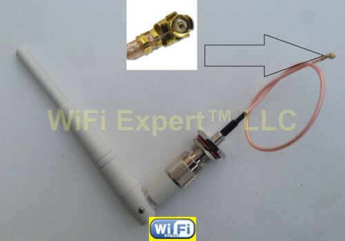 "1 White Dual Band WiFi 5dBi Antenna TNC 2.4Ghz 5Ghz with 8/"" U.Fl IPX Cable RG178"