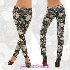 Leggings-leggins-pantaloni-donna-fantasia-floreale-moda-nuovi-AS-5208