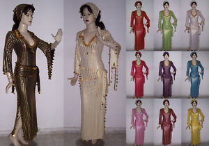 Belly-Dance-Baladi-Galabeya-Dress-Egyptian-Costume-Dancing-Wear-2-Scarves-M62