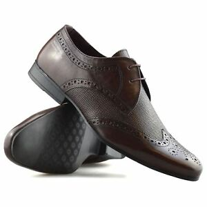 Mens-Leather-Lace-Up-Brogues-Smart-Formal-Office-Casual-Oxford-Brogue-Shoes-Size