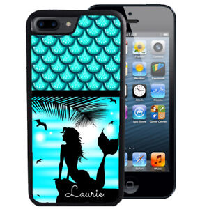 MERMAID-CASE-FOR-iPHONE-XR-XS-MAX-X-8-7-6-PLUS-PERSONALIZED-RUBBER-BEACH-BLUE