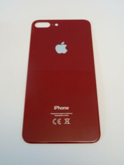 Vitre Arriere Iphone 8 Plus + Logo - Rouge - Adhesif Inclus