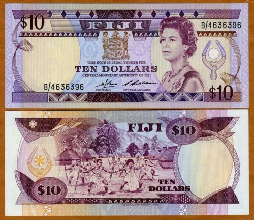 10 dollars ND QEII FIJI aUNC P-84 1986