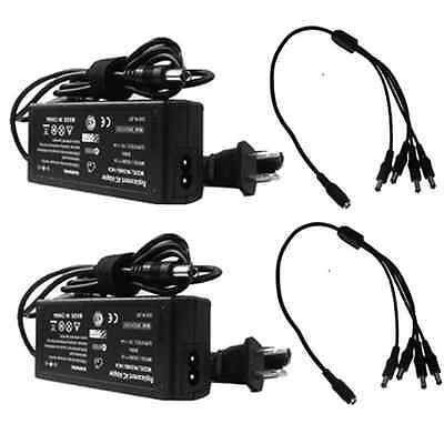 (2) AC/DC Power Adapter 12V 6Amp 1 to 4ch Power Splitters