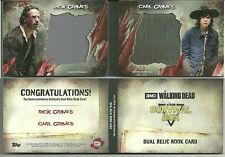 The Walking Dead #5/10 Survival dual relic book card wardrobe Rick Carl Grimes