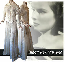 Vintage 1930s Stunning Off White Cotton Lace Sheer Panelled Art Deco Gown UK12