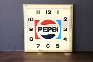 Pepsi-Clock-Sign-Dualite-Lighted-Vintage-Advertising-Cola-Sign-Large-Wall-old